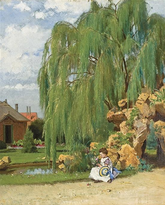 WILLEM JOHANNES MARTENS, Netherlands (1835-1895), The Willow Tree, oil on panel, signed lower right., 18 x 14 5/8