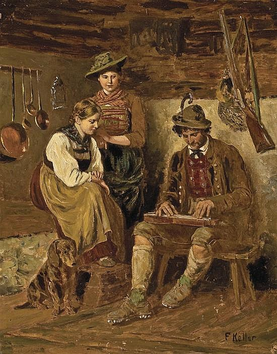FRIEDRICH von KELLER, German (1840-1914), (A Pair) A Musical Interlude and In the Tavern, both oil on panel, signed., 9 3/4 x 7 3/4