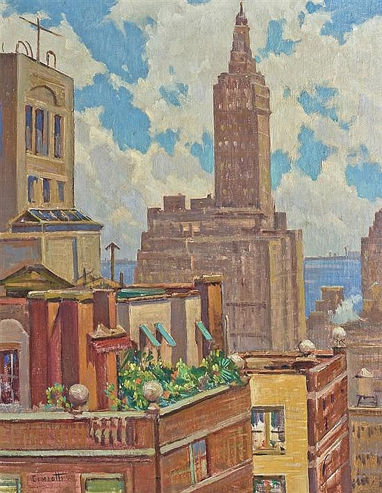 GUSTAVE CIMIOTTI, American (1875-1969), Rooftops of New York City, oil on canvas on board, signed lower left., 19 1/2 x 15 1/4