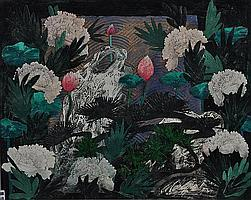 George Donald RSA, RSW (b. 1943) Peony and Lotus