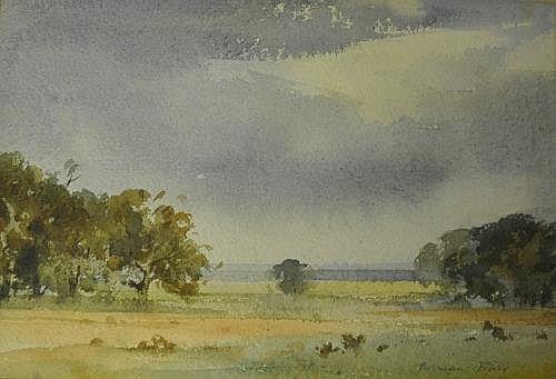 Adrian Bury Country Scene Watercolour Signed 19 x