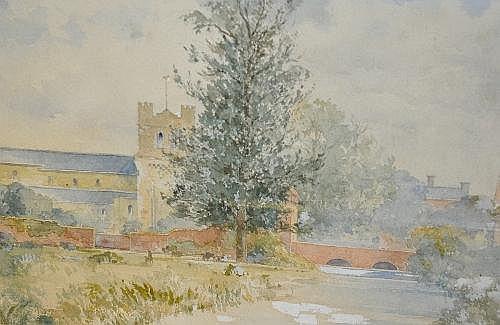 Adrian Bury, RWS Waltham Abbey Watercolour 25 x