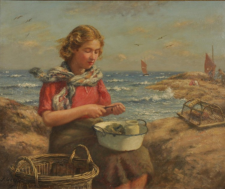 John N McGhie (1867-1952) Shelling Mussels Signed