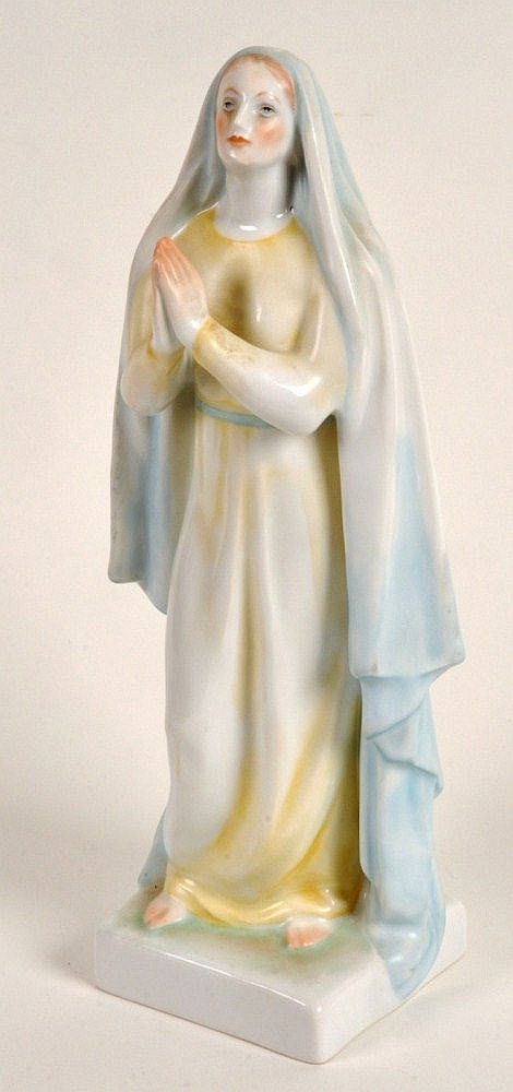 Herend porcelain figure of Madonna on a square