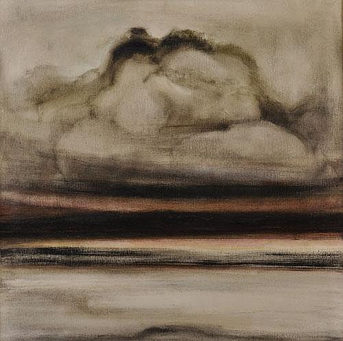 Joan Renton Stormy Sky Ullapool Oil on canvas,