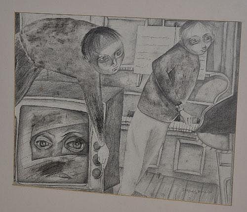 Stephen Mangan Tuning In Pencil sketch, 34 x 43cm