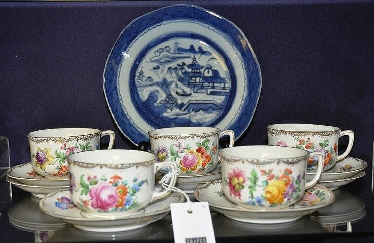 Dresden porcelain teaset, the white ground