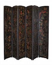 Tooled Leather Six Panel Screen Late 19th Century