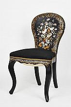 Pair of Victorian Papier Mâché and Mother-of-pearl Chairs c. 1860