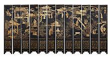Chinese Black-lacquer Coromandel Twelve Panel Screen 19th/20th Century