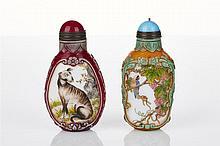 Two Chinese Peking Glass Snuff Bottles