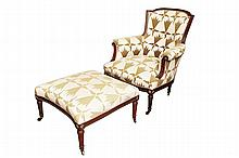 Louis XV Style Carved Walnut Bergère 20th Century