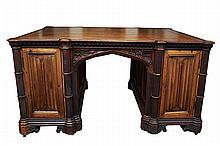 Gothic Revival Oak Partner Desk c. 1880