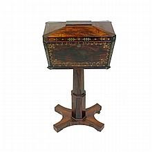William IV Rosewood and Brass Inlaid Teapoy c. 1830