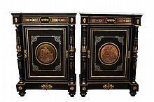 Pair of Napoleon III Ebonised Boulle Cabinets c. 1870