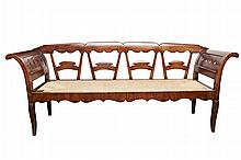 French Provincial Rush-seat Bench c. 1860