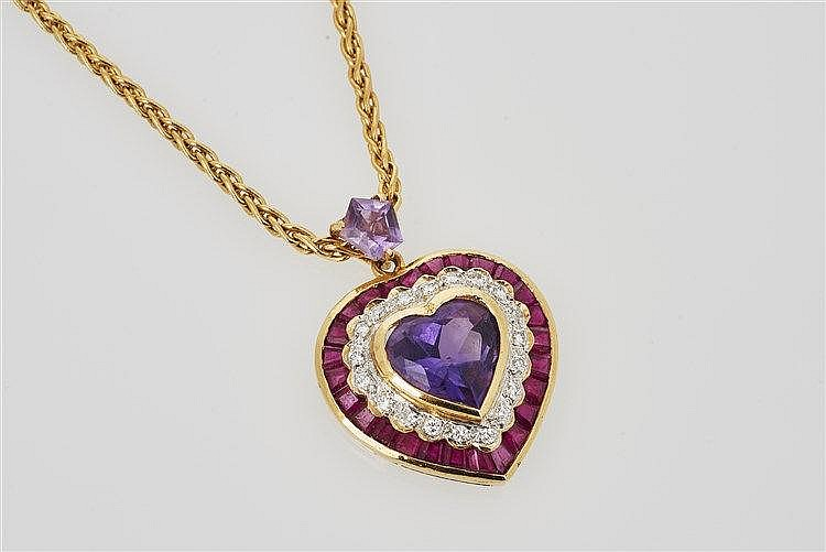 Amethyst, Ruby and Diamond Pendant