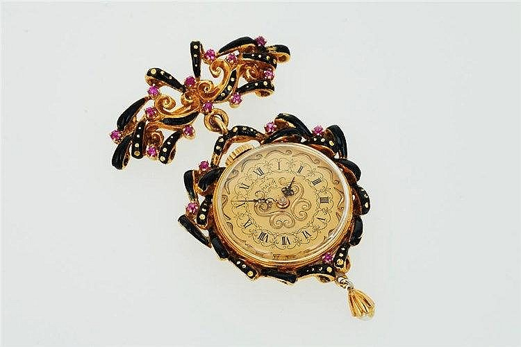 Gold and Black Enamel Open-Faced Fob Watch