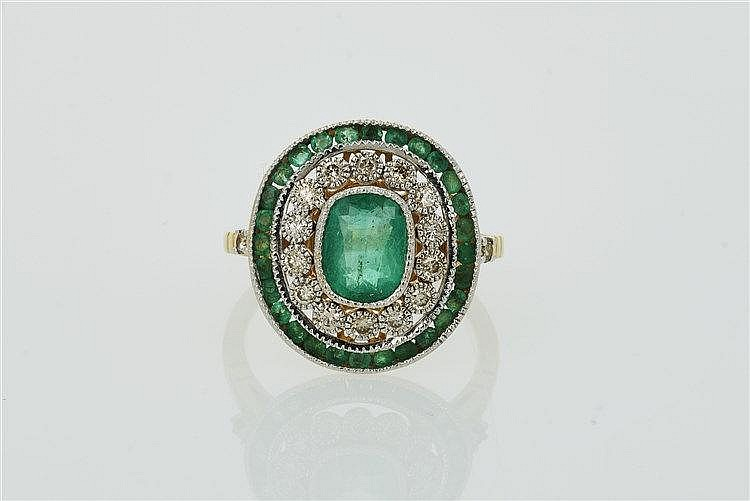 Art Deco Style Emerald and Diamond Cluster Ring