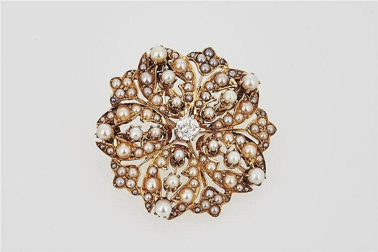 Edwardian Seed Pearl and Diamond Brooch/Pendant
