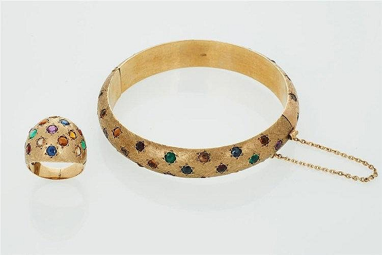 Brushed Gold Gem Set Bangle