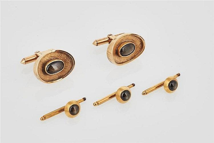 Pair of Gold and Black Star Sapphire Cufflinks
