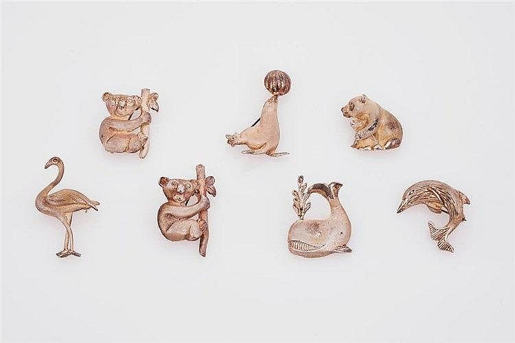 Seven Sterling Silver Animal Brooches