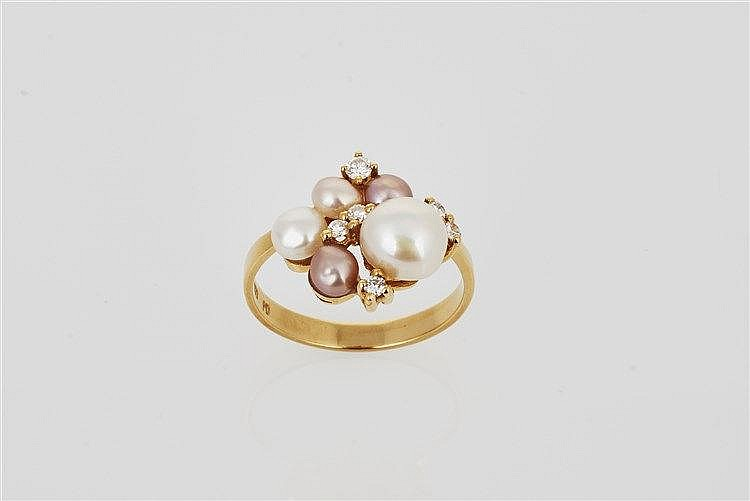 Pearl and Diamond Cluster Ring