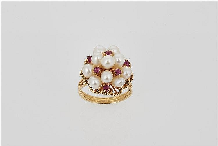 Akoya Pearl and Ruby Ring