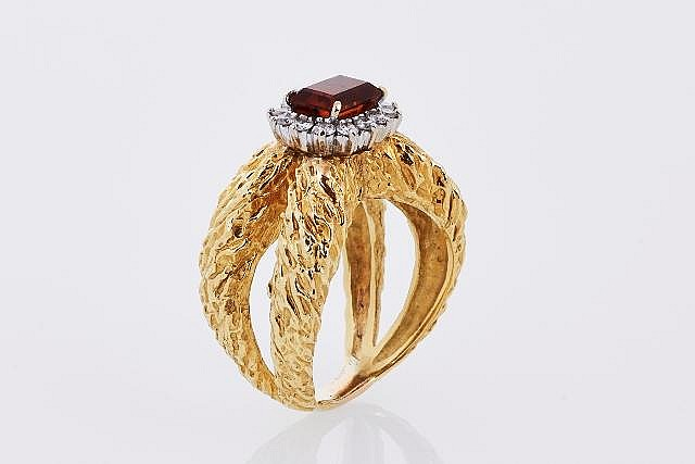 Diamond and Citrine Cocktail Ring