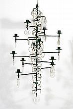 Erik Hoglund (Swedish, 1932-1998) - Wrought Iron and Glass Chandelier