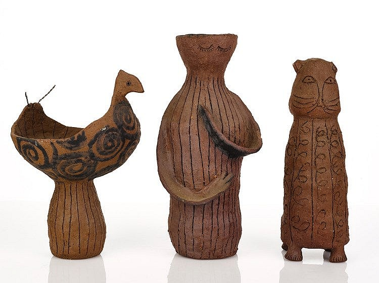 Virginia Cuppaidge (b. 1943)   Three Pottery Pieces   unglazed eathenware, artist's mark and initials incised to base   height 28 cm, height 33 cm, height 30 cm