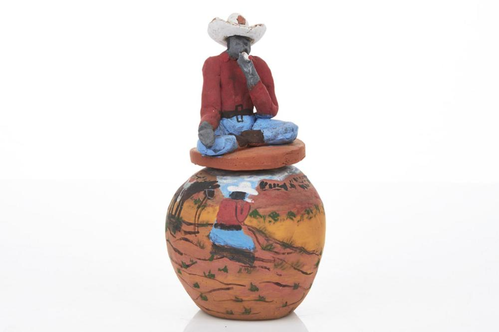 Irene Mbitjana Entata (b. 1946) Man with Hat Smoking, Lidded Pot, Hermannsburg, NT