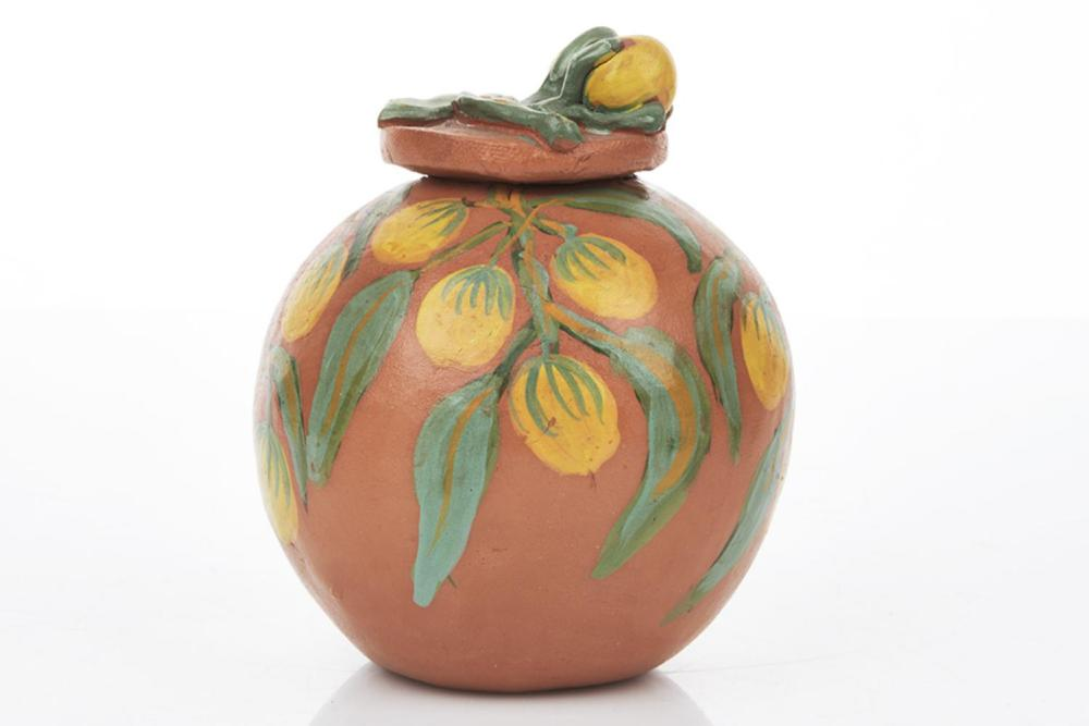 Clara Inkamala (b. 1954) Bush Flowers Lidded Pot, Hermannsburg, NT