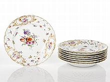 Dresden Eight Fruit Plates, c. 1900 each with