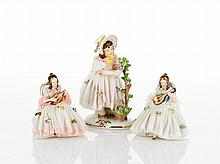 Dresden Three Lace Encrusted Figurines together