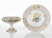 Herend Fruit Plate with gilded scalloped edge,