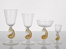 Murano Glass Stemware glass with dolphin stem,
