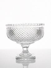 Cut Crystal Footed Fruit Bowl raised on square