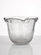 Daum Nancy Clear Glass Vase with Scalloped Rim