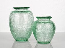 Daum Nancy Green Glass Vase of squat baluster