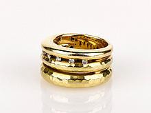 Italian Three Band Gold Ring yellow gold hammered