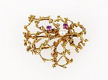 Ruby and Seed Pearl Nature Brooch 14ct yellow gold
