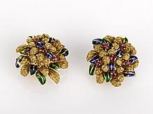 Italian Enamel Ruby and Gold Earrings 18ct yellow