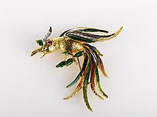 Italian Enamel and Gold Phoenix Brooch 18ct yellow