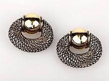 Rene Boivin French Silver Earrings with Gold