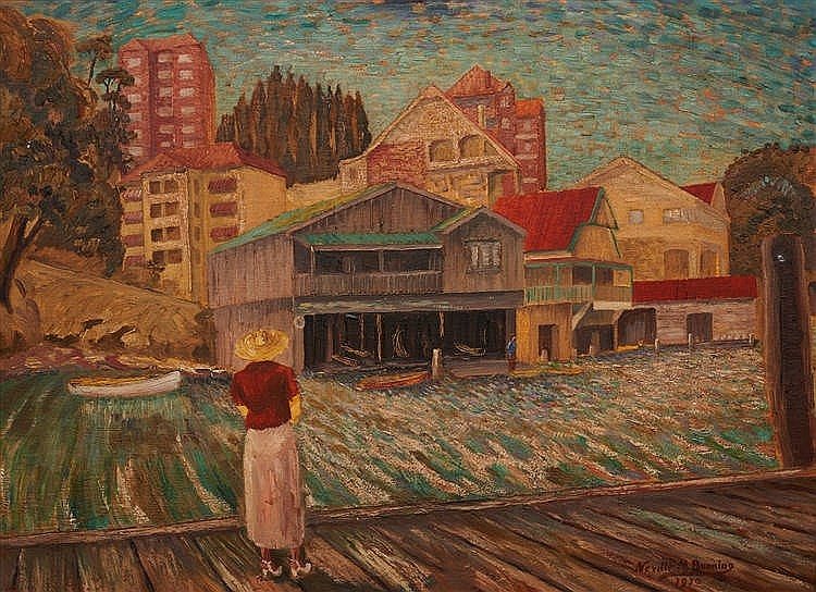 Neville Bunning (1902-1990) Waiting for the Ferry, Mosman, 1950