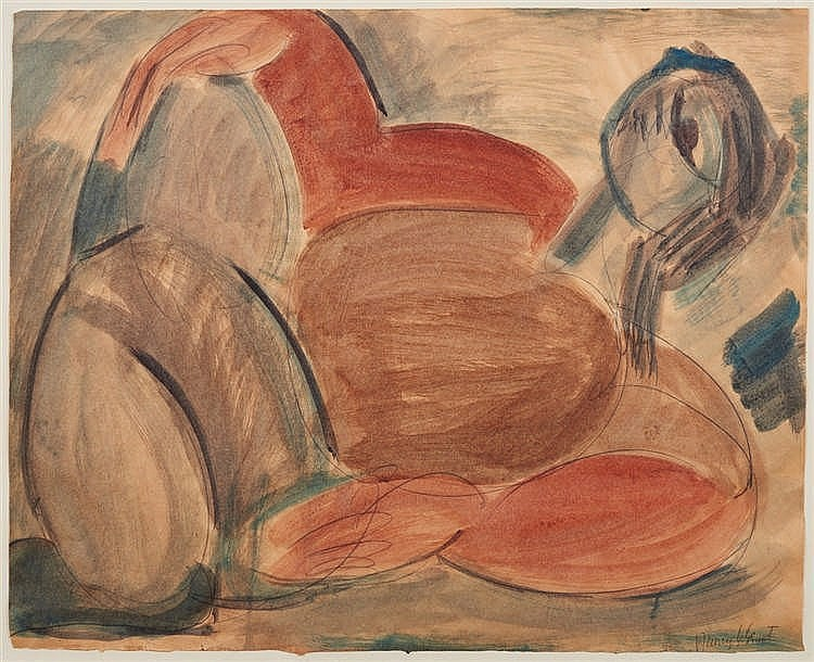 Nancy Grant (1911-1998) Abstract Nude Reclining