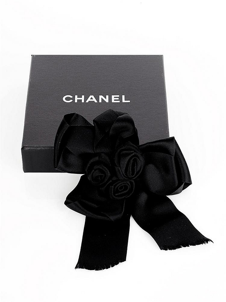 CHANEL - Black Satin Rosette Pin Brooch