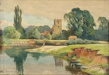 Percy Buckman (1865 - 1935 English) Goring Church